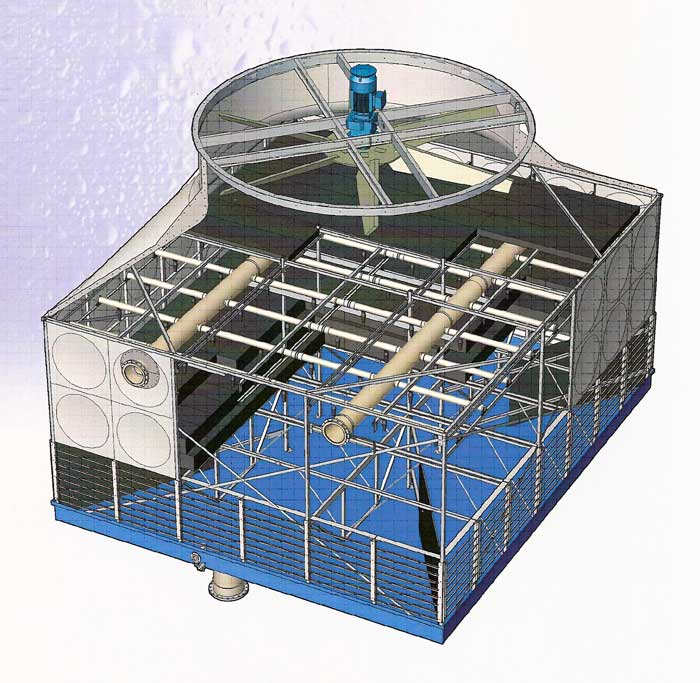 The GEA Polacel cooling tower has 3 cold water basin options;